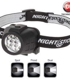 NSP-4602B Dual-Light Headlamp polymer body with adjustable headset, spot-floodlight-dual light, 30-15-35lm white LED