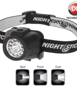 NSP-4604B Dual-Light Headlamp polymer body with white LED spot (55lm), floodlight (40lm), Dual light (80lm).