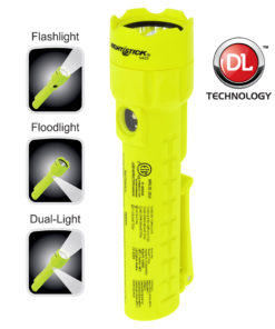 XPP-5422 Intrinsically Safe Dual Light, 7-inch polymer flashlight, 1.1-inch diameter, front and side beam, 120lm white LED