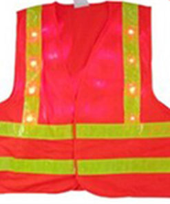 LED Safety Vest V090 available in orange or green with front and back blinking LEDs and reflective tape.